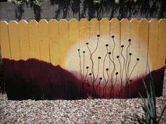 Painting the fence in the backyard. - Gardens And Thyme Fence Landscaping, Backyard Fences, Backyard Projects, Backyard Greenhouse, Backyard Privacy, Garden Projects, Backyard Ideas, Garden Fence Art, Garden Mural