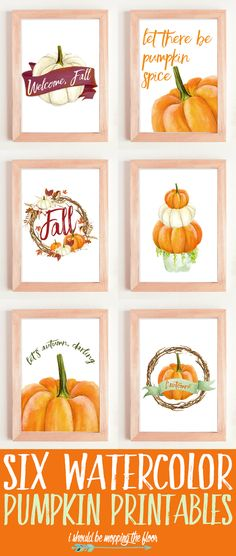 These Six Watercolor Pumpkin Printables are perfect for your fall decor.perfect for all of the pumpkin lovers out there! Fun Diy Crafts, Fall Crafts, Pumpkin Crafts, Paper Crafts, Pumpkin Printable, Autumn Decorating, Fall Projects, Diy Projects, Fall Diy