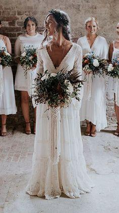 Rustic Boho Wedding, Rustic Wedding Dresses, Long Wedding Dresses, Cheap Wedding Dress, Long Sleeve Wedding Dress Boho, Viking Wedding Dress, Indie Wedding Dress, Boho Beach Wedding Dress, October Wedding Dresses