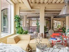 Home Interior Scandinavian Locke at Broken Wharf hotel is informed by London& landscape Sage Green Walls, Terrazzo Flooring, London Apartment, London Hotels, Co Working, Working Area, Hotel Interiors, Outdoor Furniture Sets, Hotels