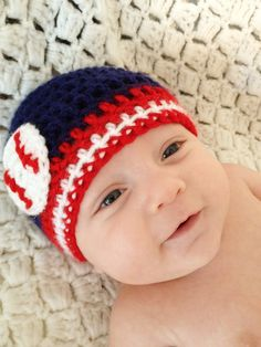 Baseball Team Colors Crochet Beanie Cleveland by LapofLuxury, $17.00