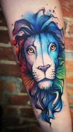 watercolor lion tattoo © Ewa Sroka tattoo artist