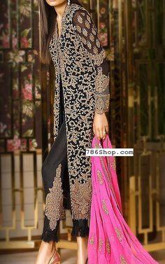 Black Chiffon Suit   Buy Pakistani Indian Dresses   786Shop.com
