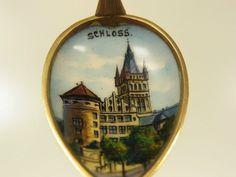 Jugendstil Andenken Emaillebild Löffel 800 S vergold. Schloß Königsberg um 1900