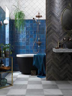 Interior Design Inspiration: Pantone Classic Blue Tiles by Walls and Floors - Fashion Trendsetter Funky Bathroom, Bathroom Cost, Small Bathroom, Bathroom Wall, Relaxing Bathroom, Minimal Bathroom, Mosaic Bathroom, Master Bathroom, Style At Home