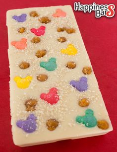 Mamta's white chocolate happiness bar with butterscotch, mickey and coconut flakes! :)