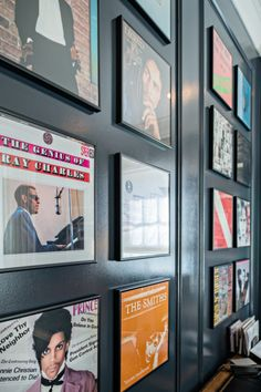 The framed album covers showcase music the couple grew up with, but also is a nod to the fact that both prefer to listen to music from a vinyl record.
