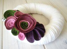 Yarn Wreath Felt Handmade Door Decoration - Violet Garden 8in. $35.00, via Etsy.