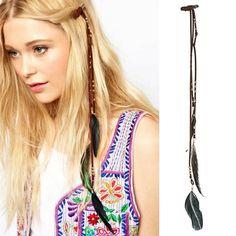 35CM Fashion Retro Folk-custom Festival Feather Charm Hippie Headpiece Hair Accessories Beach Boho Head Band For Girl