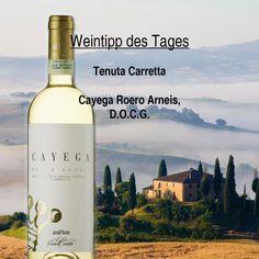 Unser #Wein - Tipp des Tages!  Cayega Roero Arneis von Tenuta Carretta. Dieser tolle #Weißwein wird aus der Rebsorte Arneis gewonnen. Diese alte und säurearme Rebsorte wird ausschließlich in #Italien, im #Piemont angebaut. Die Farbe ist strohgelb mit zartgrünen Reflexen. In der Nase ist der Wein fruchtig und nachhaltig. Der Geschmack ist harmonisch und von guter Struktur.