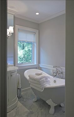 """Small Bathroom Ideas. This bathroom is small but very sophisticated. Wall Paint Color: Farrow & Ball """"Cornforth White"""" #228 Finish: Washable Matte. #SmallBathroom"""