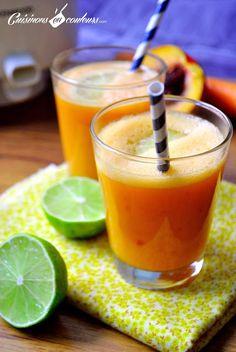 Jus de fruits carottes, citrons verts, pommes et nectarines