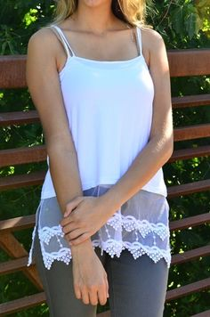 Shirt extender. Add a little lace to those shorter tops.