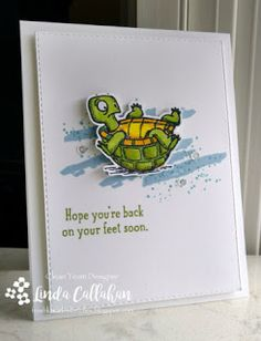 Back on Your Feet from Stampin' Up is as cute as can be and the perfect set for get well wishes. This card is headed to the Big Gu. Stampin Up Karten, Stampin Up Cards, Get Well Wishes, Stampin Up Catalog, Get Well Soon, Get Well Cards, Animal Cards, Cool Cards, Cards Diy