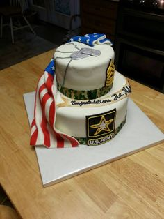 Two tiered Army Retirement cake 1