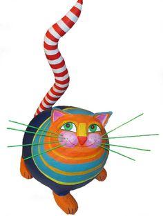 Deko-Objekte - Katze, h ca 36cm, Pappmache - ein Designerstück von villaazula bei DaWanda