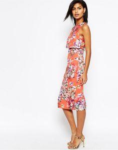 a2c278db636 Crop Top Midi Pencil Dress in Orange Floral