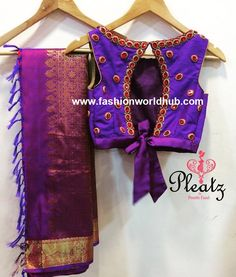 Maggam work blouse are presently in huge demand and these blouses are ever green and will never go out of fashion. A simple stone line with beads work will Latest Maggam Work Blouses, Back Neck Designs, Blouse Designs, Going Out, Crop Tops, Women, Fashion, Moda, Fashion Styles