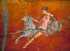 Roman Mural of a Woman Riding a Bull ca. 50 B.C. A Roman ceiling fresco in the Caldarium, or hot bath, of Oplonti Villa shows a nude woman seated on the back of a scorpion-tailed bull