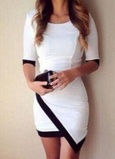 White & black asymmetrical dress.