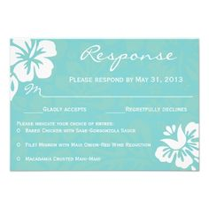 Beach Flowers RSVP Announcements