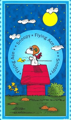 "Snoopy Fabric / Nursery Fabric - Peanut Snoopy Flying Ace 100% cotton fabric by the PANEL 23.5""x43"" (E58) by Angelfabric on Etsy"