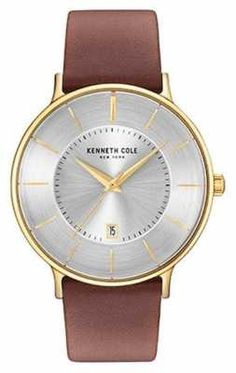 Kenneth Cole Mens Silver Date Dial Brown Leather Strap KC15097004