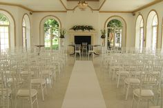 Northbrook Park - White chiavari chairs, white aisle carpet by www.stressfreehire.com #venuetransformers