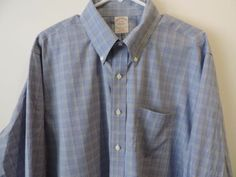 Brooks Brothers Mens Blue Plaid Non-Iron Dress Shirt 17 36 Mint Quick Shipping (Pre-Owned)