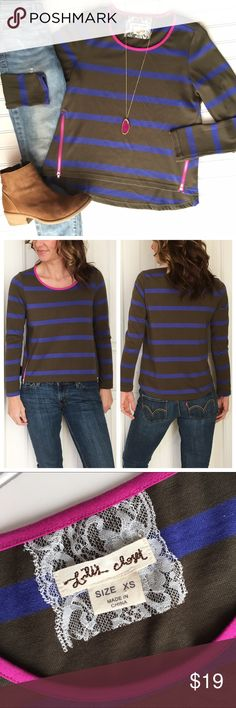 "Anthropologie Lili's Closet Stripe Top Anthropologie Lili's Closet Stripe Top | size XS; cotton/poly . Scoop neck top in olive & royal stripe with pink trim at neck & zipper accents at hips | medium knit that's heavier than a tee but lighter than a sweatshirt | a versatile top with great details! . EUC, no flaws, smoke-free home . 18"" UA to UA 23"" sleeve 20.5"" length (front) 23"" length (back) Anthropologie Tops"