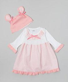 Look what I found on #zulily! Pink Lattice Dress & Beanie Set - Infant #zulilyfinds