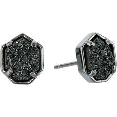 Kendra Scott Logan Earrings (Gunmetal Black Drusy) Earring ($43) ❤ liked on Polyvore featuring jewelry, earrings, black, kendra scott earrings, druzy earrings, kendra scott, gunmetal jewelry and druzy jewelry