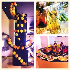Super colourful food! Tower of chocolate and biscuits, flavoured water and salad.