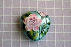 Hand painted Pink Rose on the pebble.