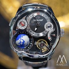 Greubel Forsey GMT tourbillon in platinum, offering a three-dimensional rotating globe. The world at your wrist.