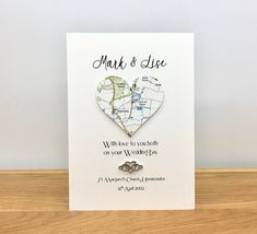 Excited to share this item from my #etsy shop: Personalised Wedding Card ~ Map Location Wedding Card ~ Heart & Eternal Love Charm