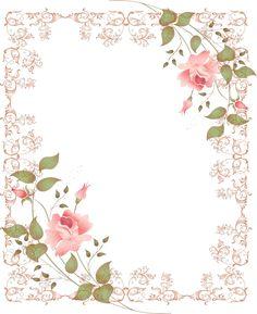 Frames with pink flowers Papel Vintage, Vintage Diy, Vintage Paper, Vintage Flowers, Vintage Images, Pink Flowers, Pink Roses, Rose Frame, Flower Frame