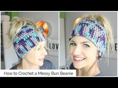 How to Crochet a Messy Bun Beanie -