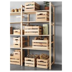 IKEA - KNAGGLIG, Box, , Perfect for storing larger things like tools and gardening tools, as the box Ikea Crates, Ikea Boxes, Wood Crates, Wood Boxes, Wooden Crates Wedding, Wooden Crate Shelves, Diy Garage Storage, Ikea Storage, Storage Boxes