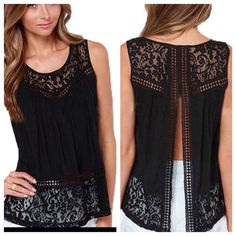 Open Back Crocheted Boho Tank NWT gorgeous black tank with open back concept. Tops run one size smaller than tag size (i.e. XXL fits like an XL). - Tops Tank Tops