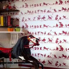 Catherine Martin by Mokum, Circus Parade wallpaper, available in 2 colour options, red and blue.