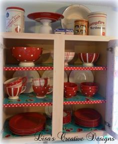 A Red and Aqua Kitchen Display Cabinet perfect for a cottage style kitchen by Lisa's Creative Designs #VintageKitchen #RetroKitchen #PolkaDotDishes