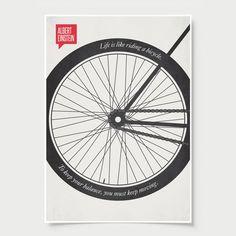 Albert Einstein Minimalist Poster Quote Bicycle