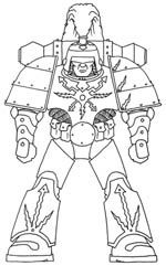 Line Drawing of Mk 1/I Thunder pattern power armour