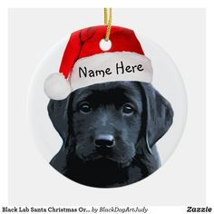 Shop Black Lab Santa Christmas Ornament created by BlackDogArtJudy. Personalize it with photos & text or purchase as is! Labrador Dog Breed, Black Labrador Dog, Black Labrador Retriever, Dog Lover Gifts, Dog Lovers, Christmas Angels, Christmas Ornaments, Christmas Ideas, Christmas Stuff