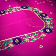 #🐣 #aartstudio #aariwork #latestblousedesigns #puresilk #maggamwork #maggamworkblouses #bridalblouses #sareeblousedesigns #vanki… Cutwork Blouse Designs, Wedding Saree Blouse Designs, Best Blouse Designs, Embroidery Neck Designs, Blouse Neck Designs, Hand Work Blouse Design, Stylish Blouse Design, Raw Silk Fabric, Maggam Work Designs