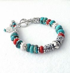 8caf7df91d2c Turquoise Coral Freshwater Pearl Silver by connectionsbymaya   RealSilverNameNecklace