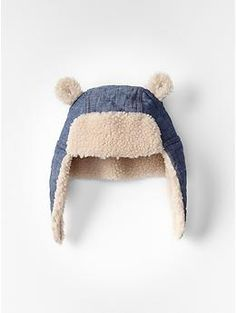 Chambray sherpa bear hat | Gap @mhueftle Beau Bear needs this!