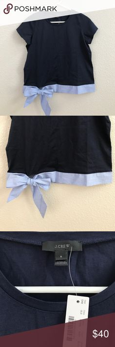 """❣️J.CREW❣️SIDE TIE T-SHIRT❣️ ❣️J.CREW SIDE TIE T-SHIRT❣️COTTON/ELASTANE❣️BODY LENGTH:22 1/2""""❣️SIZE SM❣️BOXY FIT WITH COOL BOW TIE DETAIL❣️NWT❣️ J. Crew Tops Tees - Short Sleeve"""