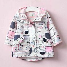 Funny Cat Print Hooded Long-sleeve Coat for Toddler Girls
